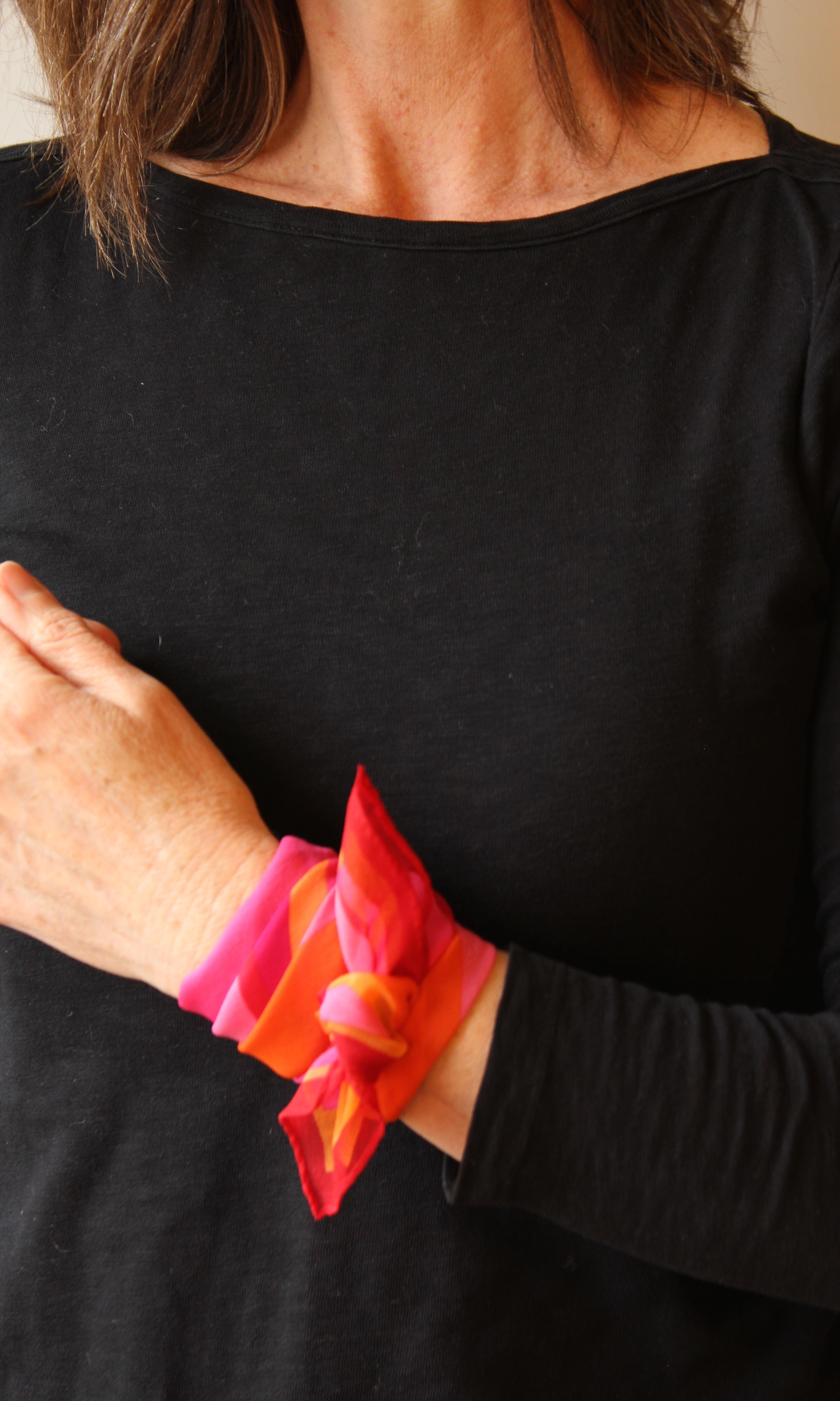 small square silk scarf - wrist tie