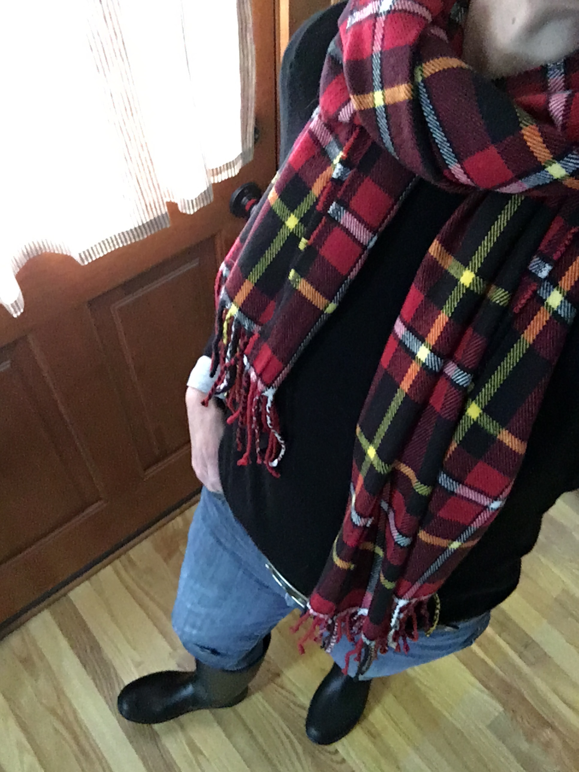 black cashmere sweater with plaid scarf