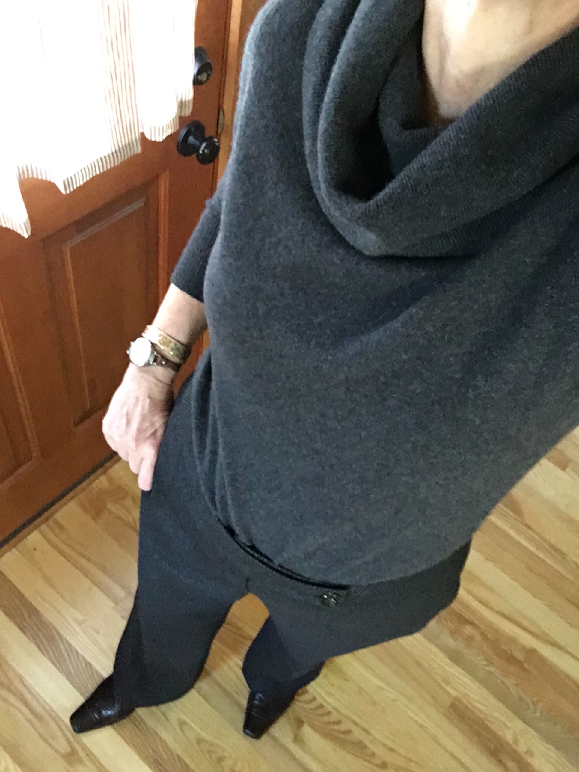 cashmere cowl and dress pants