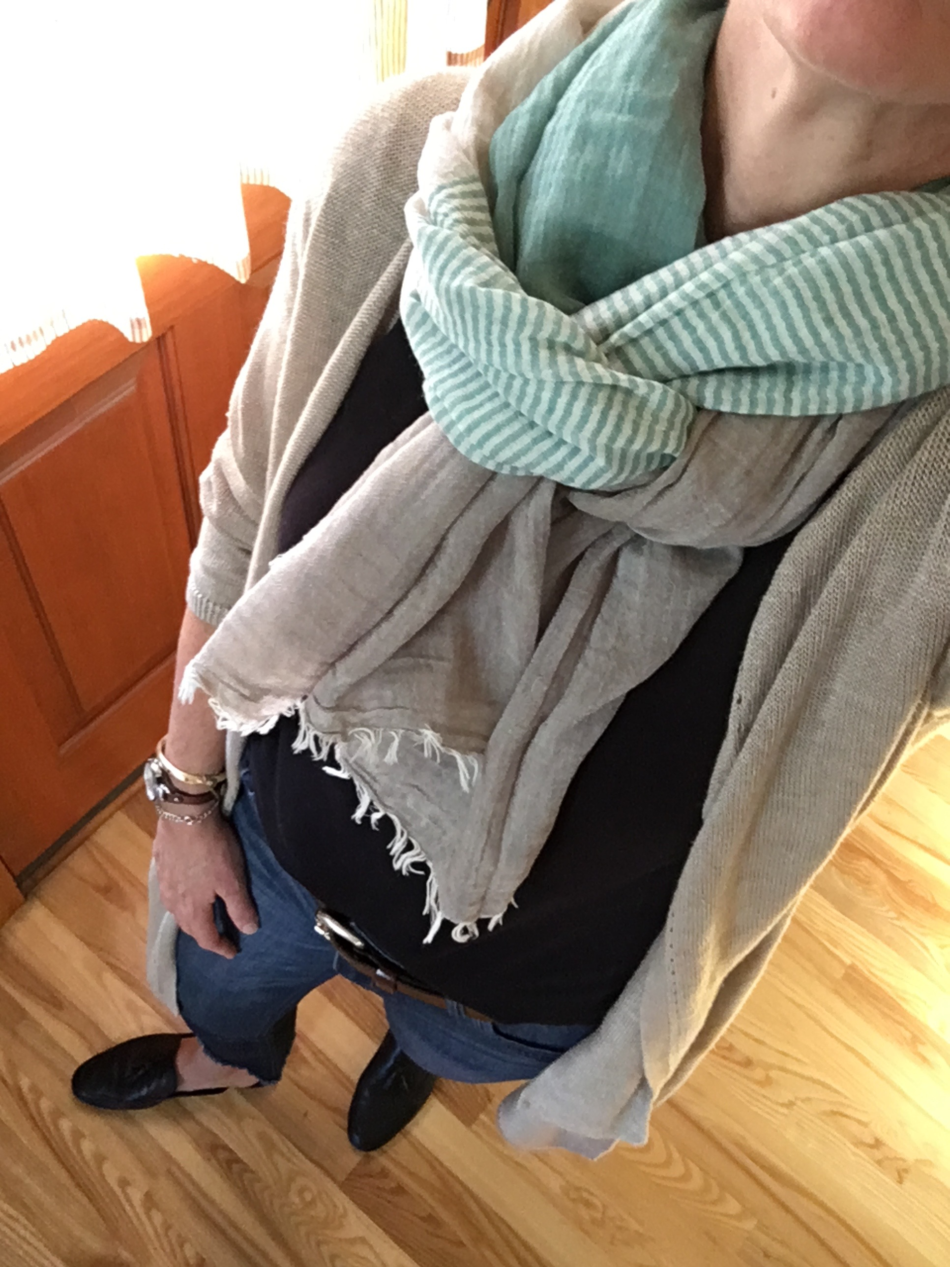 linen duster with scarf and black shirt