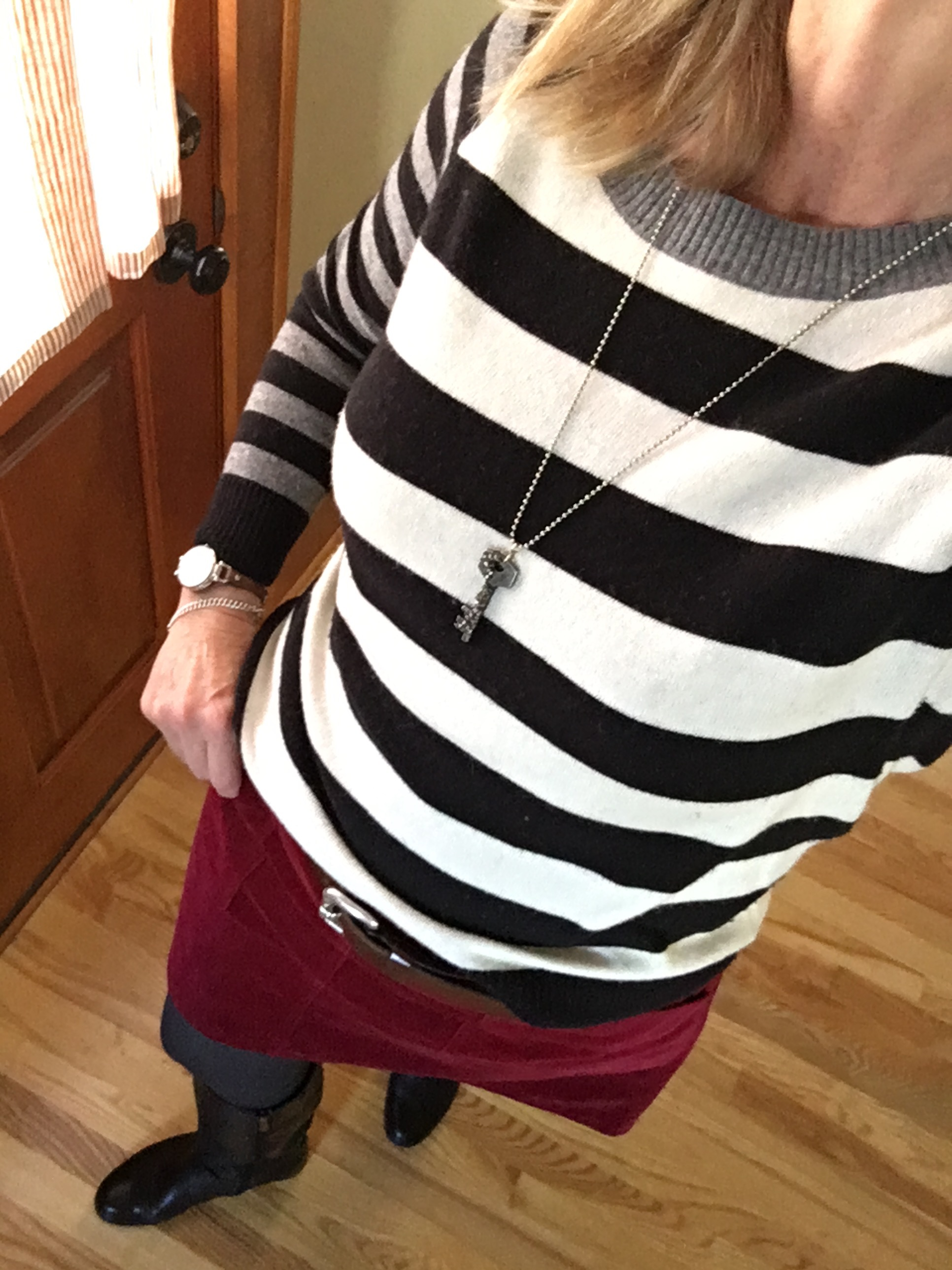 striped sweater and skirt